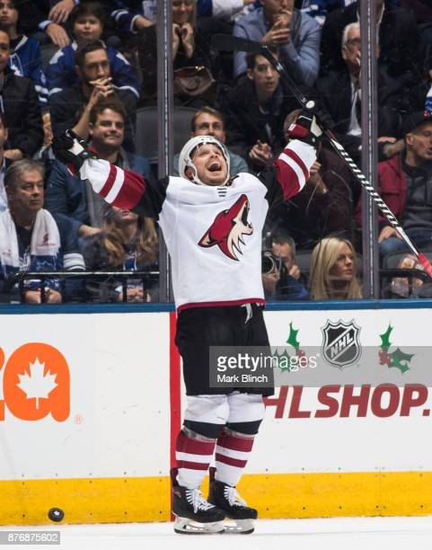 Max Domi of the Arizona Coyotes celebrates his empty net goal on the Toronto Maple Leafs during the third period at the Air Canada Centre on November...