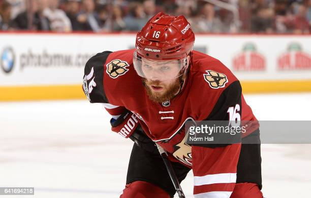 Max Domi of the Arizona Coyotes gets ready during a faceoff against the Montreal Canadiens at Gila River Arena on February 9 2017 in Glendale Arizona