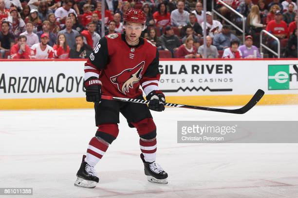 Max Domi of the Arizona Coyotes in action during the third period of the NHL game against the Detroit Red Wings at Gila River Arena on October 12...