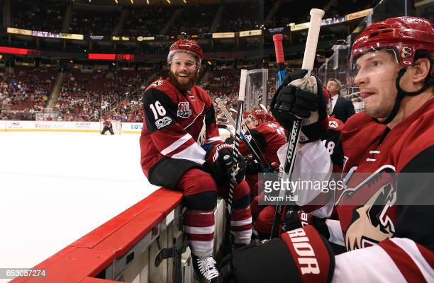 Max Domi of the Arizona Coyotes looks toward the Colorado Avalanche bench and laughs during the third period at Gila River Arena on March 13 2017 in...
