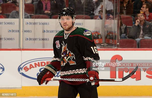 Max Domi of the Arizona Coyotes looks up ice during a stop in play against the Edmonton Oilers at Gila River Arena on November 25 2016 in Glendale...