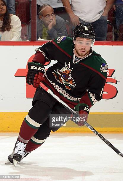 Max Domi of the Arizona Coyotes prepares for a game against the St Louis Blues at Gila River Arena on February 20 2016 in Glendale Arizona