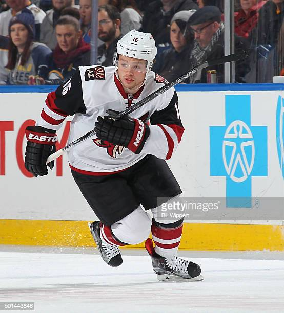 Max Domi of the Arizona Coyotes skates against the Buffalo Sabres during an NHL game on December 4 2015 at the First Niagara Center in Buffalo New...