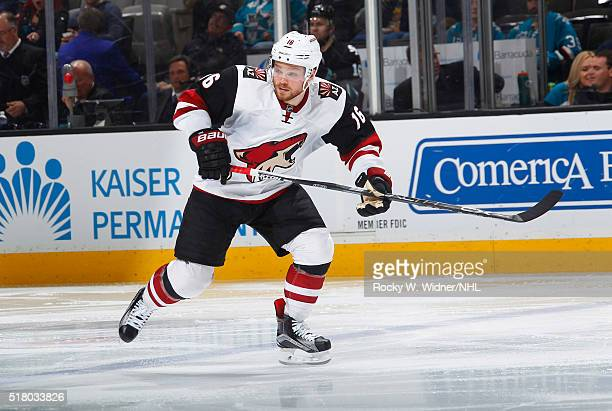 Max Domi of the Arizona Coyotes skates against the San Jose Sharks at SAP Center on March 20 2016 in San Jose California