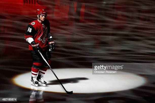 Max Domi of the Arizona Coyotes skates onto the ice as he is introduced to the NHL game against the Pittsburgh Penguins at Gila River Arena on...