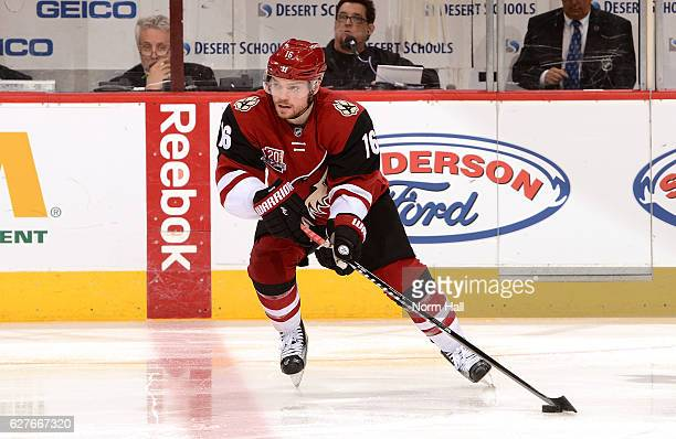 Max Domi of the Arizona Coyotes skates with the puck against the Los Angeles Kings at Gila River Arena on December 1 2016 in Glendale Arizona