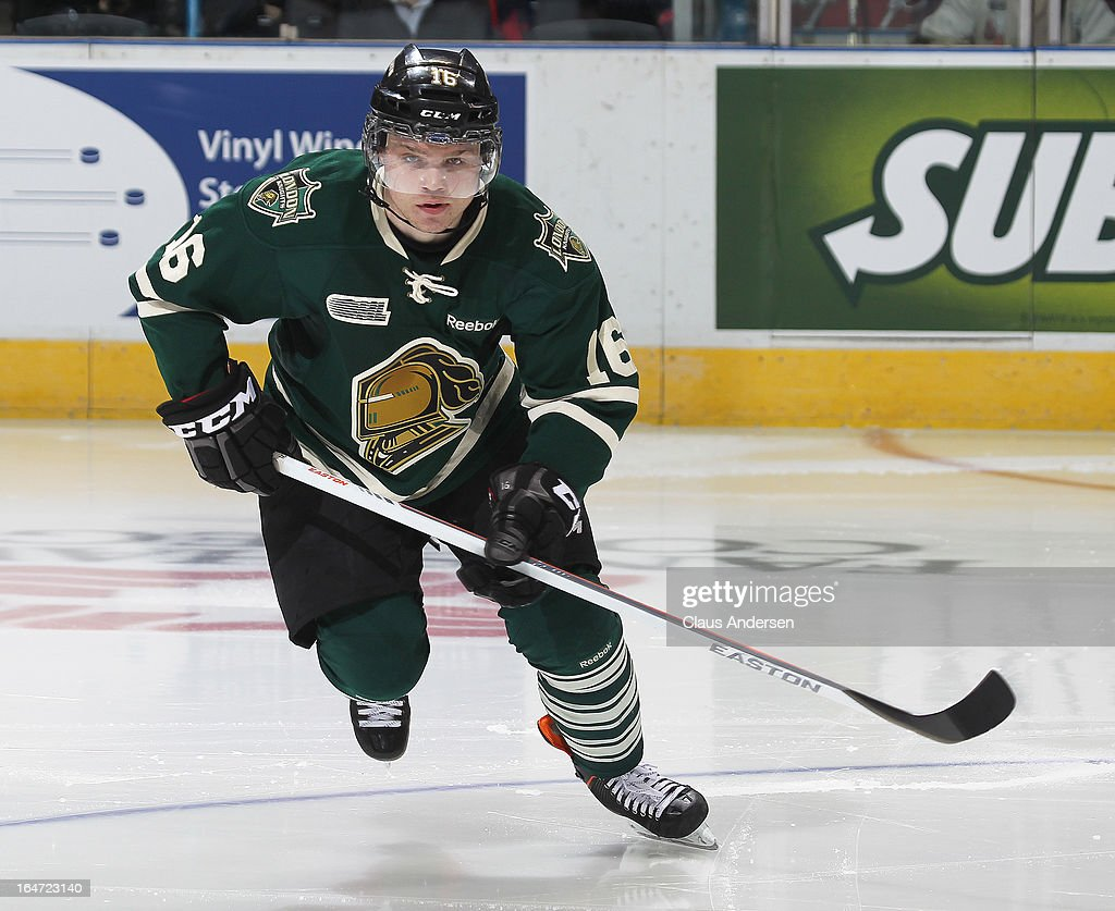 Max Domi #16 of the London Knights skates in a first round playoff game against the Saginaw Spirit on March 24, 2013 at the Budweiser Gardens in London, Ontario, Canada. The Knights defeated the Spirit 3-2 in double overtime to take a 2-0 series lead.