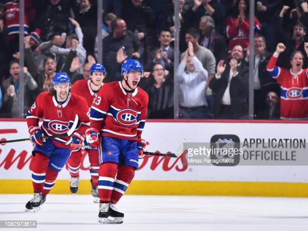 Max Domi of the Montreal Canadiens reacts after scoring a goal in the third period against the Washington Capitals during the NHL game at the Bell...