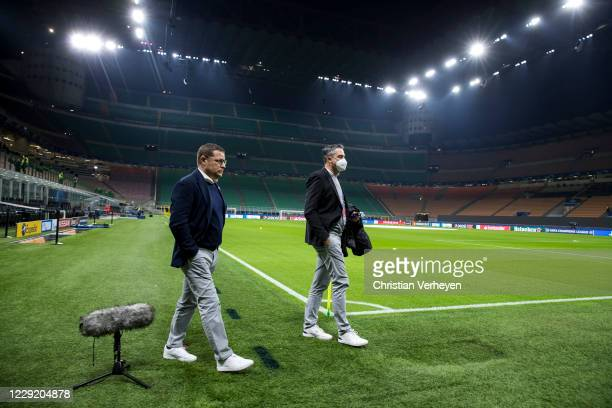 Max Eberl and Press Officer Markus Aretz of Borussia Moenchengladbach are seen before the Group B UEFA Champions League match between FC...