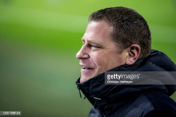 Max Eberl, Director of Sport of Borussia Moenchengladbach, is seen ahead the UEFA Champions League Round Of 16 Leg Two match between Manchester City...