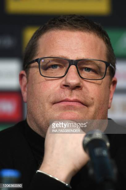 Max Eberl director of sports of first division Bundesliga club Borussia Moenchengladbach addresses a news conference at the BorussiaPark on March 10...