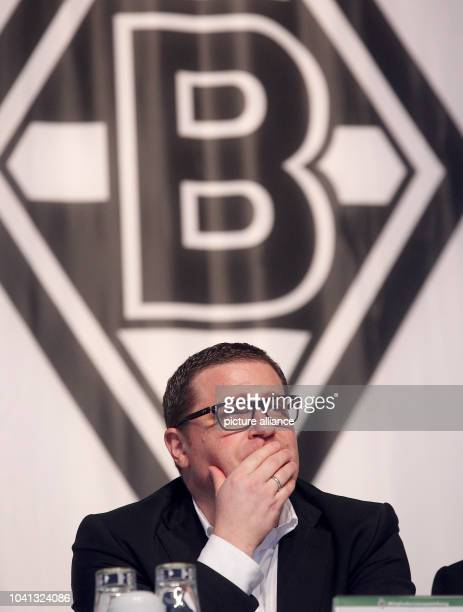 Max Eberl sports director of the German Bundesliga team Borussia Moenchengladbach sits on stage during the annual general meeting in Moenchengladbach...
