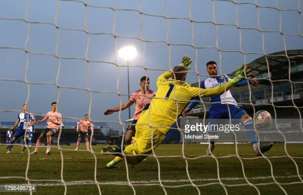 Max Ehmer of Bristol Rovers scores their team's second goal past Aaron Ramsdale of Sheffield United during the FA Cup Third Round match between...