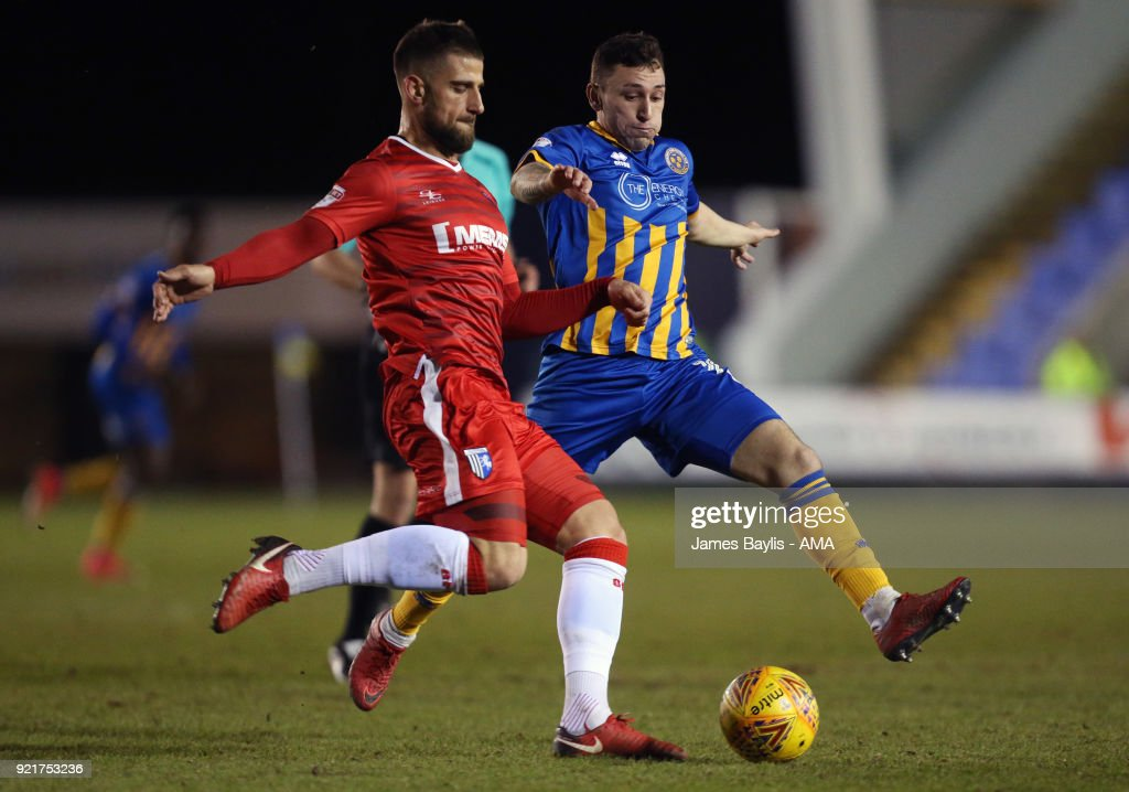 Max Ehmer of Gillingham and Nathan Thomas of Shrewsbury Town during the Sky Bet League One match between Shrewsbury Town and Gillingham at New Meadow on February 20, 2018 in Shrewsbury, England.