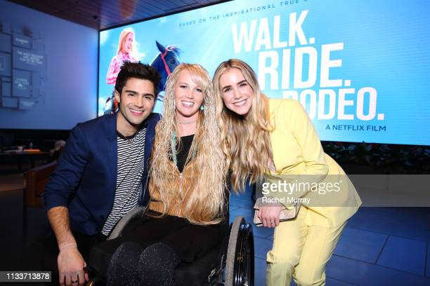 Max Ehrich Amberley Snyder and Spencer Locke attend Walk Ride Rodeo Screening at NETFLIX on March 04 2019 in Los Angeles California