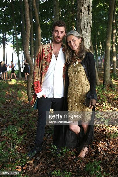 Max Eicke and Elfie Eicke attend the 21st Annual Watermill Summer Benefit at The Watermill Center on July 26 2014 in Water Mill New York