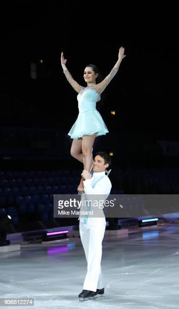 Max Evans and Ale Izquierdo during the Dancing On Ice Live UK Tour launch at The SSE Arena Wembley on March 22 2018 in London England