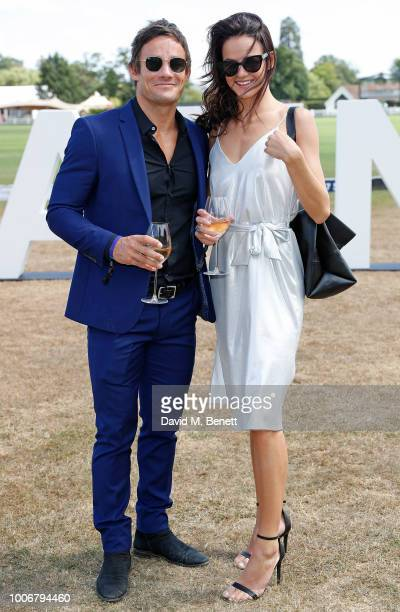 Max Evans and guest attend the Westchester Cup Polo at the Flannels marquee the Royal County of Berkshire Polo Club on July 28 2018 in Windsor England