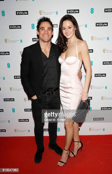 Max Evans and Lauren Jamieson attend the InStyle EE Rising Star Party Ahead Of The EE BAFTAs at Granary Square on February 6 2018 in London England