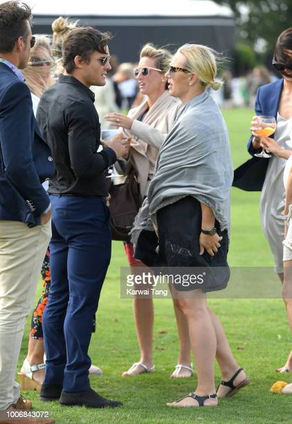 Max Evans and Zara Tindall attend the 2018 International Day Polo at The Royal County of Berkshire Polo Club on July 28 2018 in Windsor England