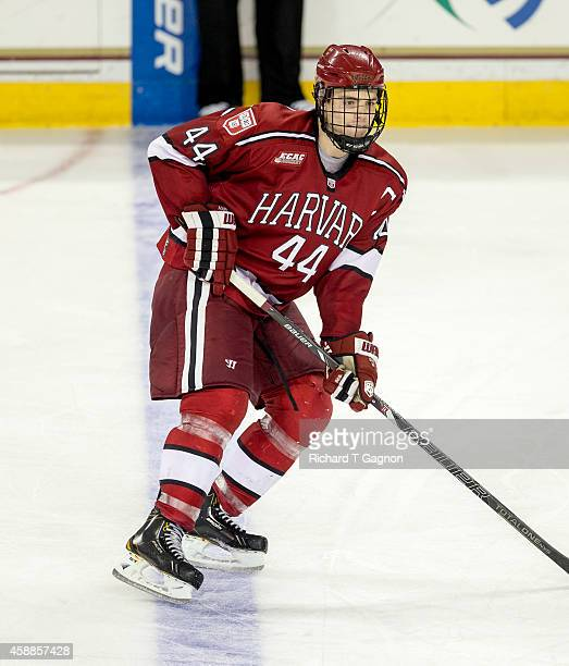 Max Everson of the Harvard Crimson skates against the Boston College Eagles during NCAA hockey at Kelley Rink on November 11, 2014 in Chestnut Hill,...