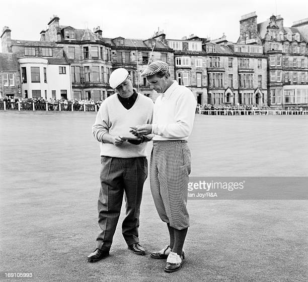 Max Faulkner of England on the 18th hole with Phil Rogers of the USA during the 1964 Open Championship held on the Old Course at St Andrews on July...