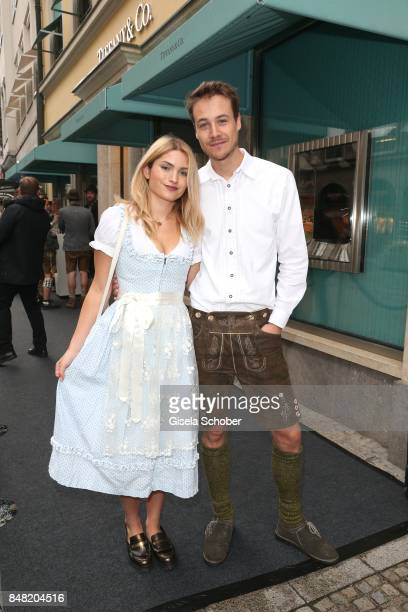 Max Felder and his girlfriend during the 'Fruehstueck bei Tiffany' at Tiffany Store ahead of the Oktoberfest on September 16, 2017 in Munich, Germany.