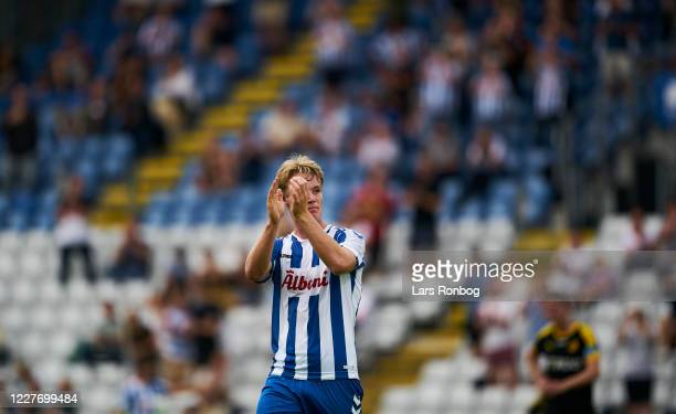 Max Fenger of OB Odense applause the fans during the Danish 3F Superliga match between OB Odense and Randers FC at Nature Energy Park on July 19,...