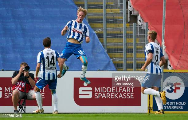 Max Fenger of OB Odense celebrates after scoring their first goal during the Danish 3F Superliga match between OB Odense and Randers FC at Nature...