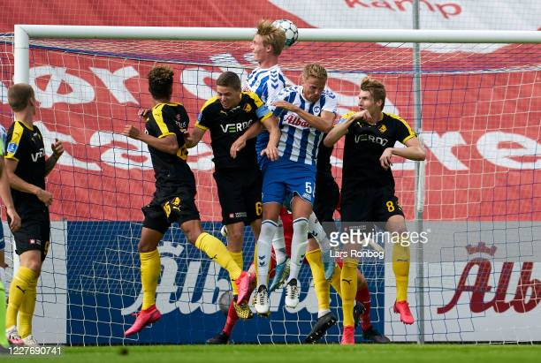 Max Fenger of OB Odense scores the 1-0 goal during the Danish 3F Superliga match between OB Odense and Randers FC at Nature Energy Park on July 19,...