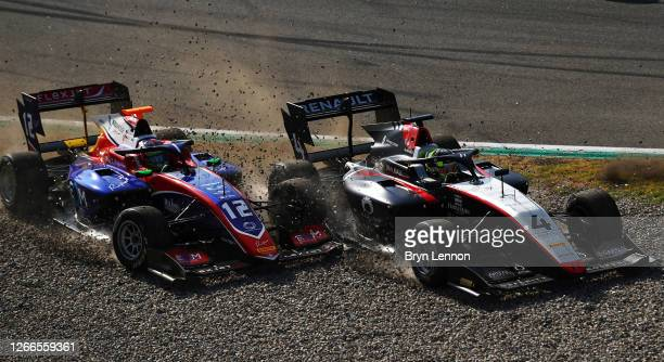 Max Fewtrell of Great Britain and Hitech Grand Prix and Olli Caldwell of Great Britain and Trident crash during race two of the Formula 3...