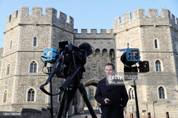 Max Foster of CNN reports from outside Windsor Castle on March 01, 2021 in Windsor, England. The Duke of Edinburgh was today transferred from King...