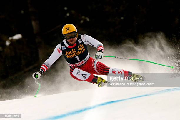 Max Franz of Austria in action during the Audi FIS Alpine Ski World Cup Men's Downhill on December 27, 2019 in Bormio Italy.