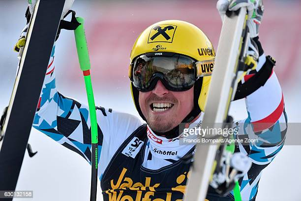 Max Franz of Austria takes 1st place during the Audi FIS Alpine Ski World Cup Men's Downhill on December 17, 2016 in Val Gardena, Italy