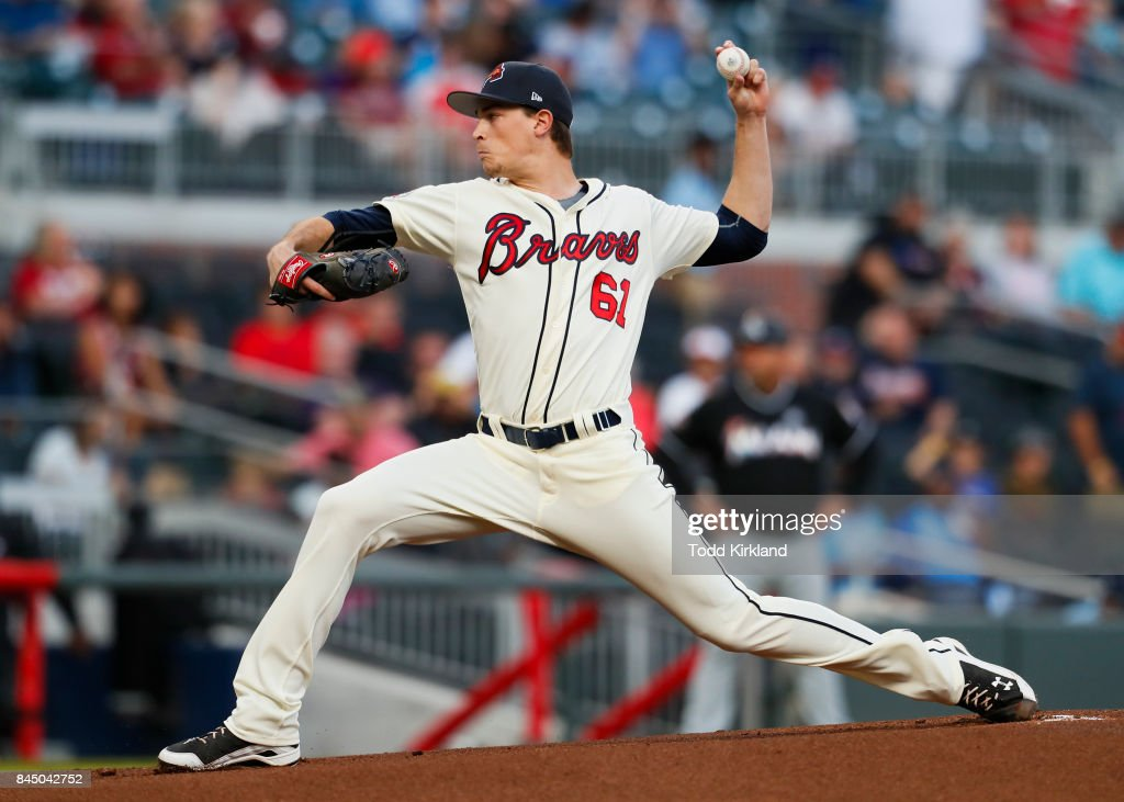 Max Fried #61 of the Atlanta Braves delivers in the first inning of an MLB game against the Miami Marlins at SunTrust Park on September 9, 2017 in Atlanta, Georgia.