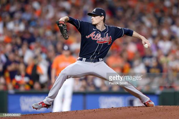 Max Fried of the Atlanta Braves delivers the pitch against the Houston Astros during the first inning in Game Two of the World Series at Minute Maid...