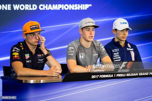 Max from Nederlans of Red Bull Tag Heuer 02 VANDOORNE Stoffel from Belgium of McLaren Honda and 31 OCON Esteban from France Force India during the...