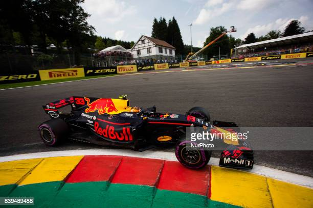 Max from Nederlans of Red Bull Tag Heuer during the Qualifying of Formula One Belgian Grand Prix at Circuit de SpaFrancorchamps on August 25 2017 in...
