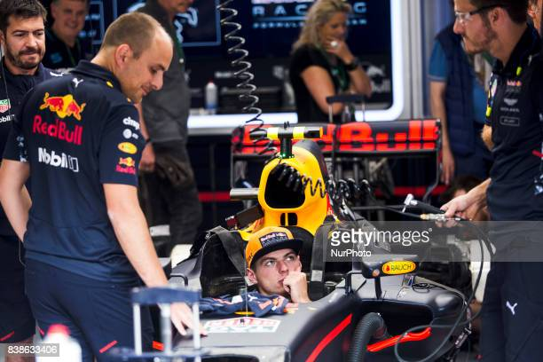 Max from Nederlans of Red Bull Tag Heuer inside his car talking to his mechanics during the Formula One Belgian Grand Prix at Circuit de...