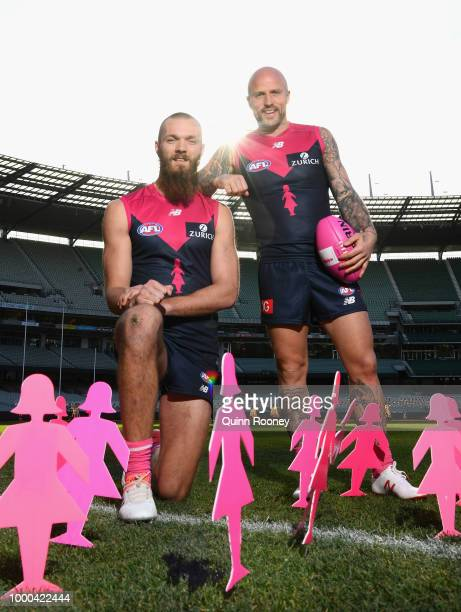 Max Gawn and Nathan Jones of the Demons pose during the launch of the Field of Women at the Melbourne Cricket Ground on July 17 2018 in Melbourne...
