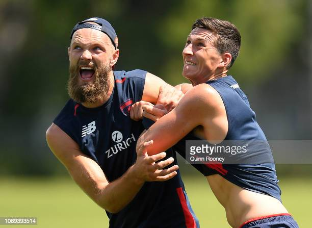 Max Gawn and Sam Weideman of the Demons compete for a mark during a Melbourne Demons AFL training session at Gosch's Paddock on November 19 2018 in...