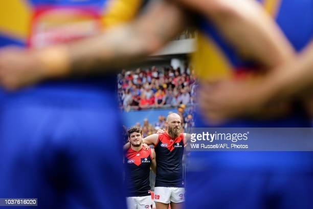 Max Gawn of Melbourne looks on as the teams line up for the National Anthem during the AFL Prelimary Final match between the West Coast Eagles and...
