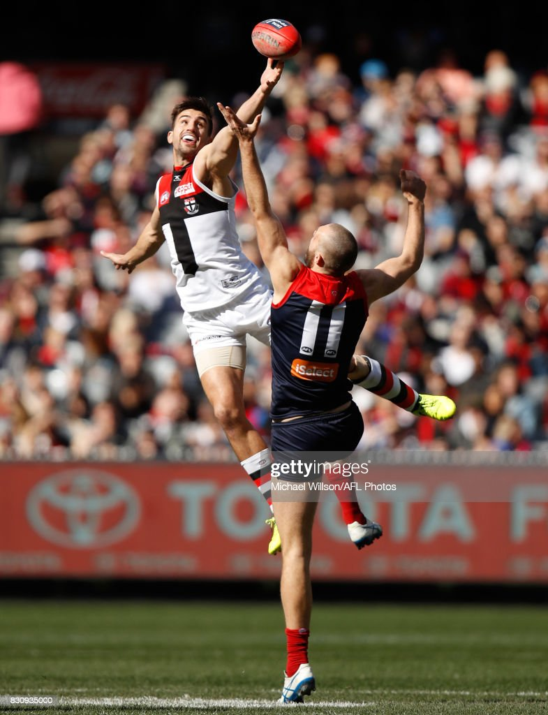 Max Gawn of the Demons and Billy Longer of the Saints compete in a ruck contest during the 2017 AFL round 21 match between the Melbourne Demons and the St Kilda Saints at the Melbourne Cricket Ground on August 13, 2017 in Melbourne, Australia.