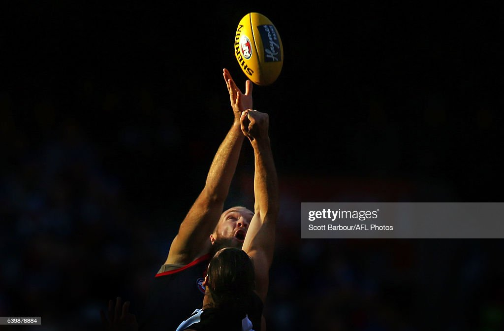 Max Gawn of the Demons and Brodie Grundy of the Magpies compete for the ball during the round 12 AFL match between the Melbourne Demons and the Collingwood Magpies at Melbourne Cricket Ground on June 13, 2016 in Melbourne, Australia.