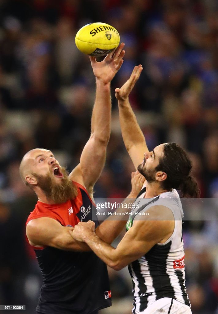 Max Gawn of the Demons and Brodie Grundy of the Magpies compete for the ball during the round 12 AFL match between the Melbourne Demons and the Collingwood Magpies at Melbourne Cricket Ground on June 11, 2018 in Melbourne, Australia.