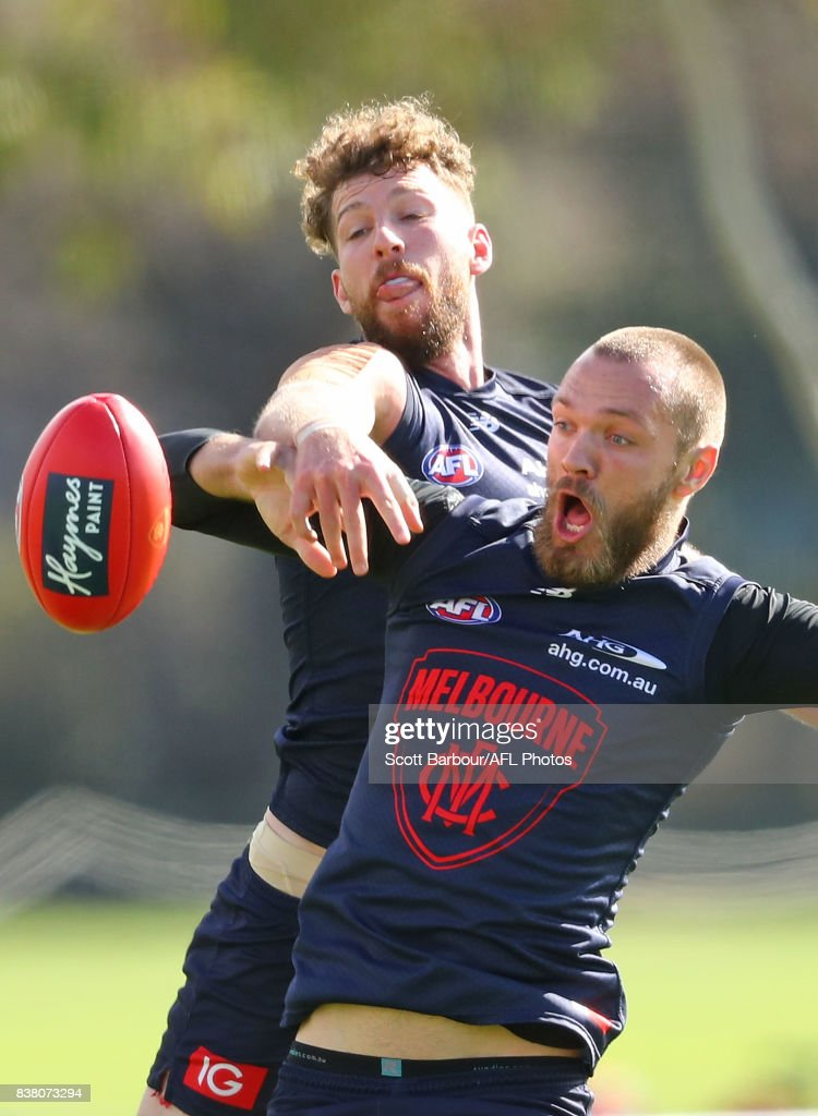 Max Gawn of the Demons and Jake Spencer of the Demons compete for the ball during a Melbourne Demons AFL training session at Gosch's Paddock on August 24, 2017 in Melbourne, Australia.