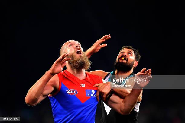 Max Gawn of the Demons and Patrick Ryder of the Power compete for the ball during the round 14 AFL match between the Port Adelaide Power and the...