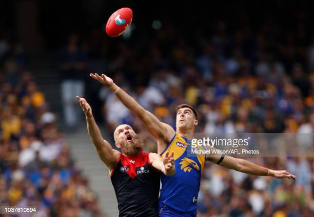 Max Gawn of the Demons and Scott Lycett of the Eagles compete in a ruck contest during the 2018 AFL Second Preliminary Final match between the West...