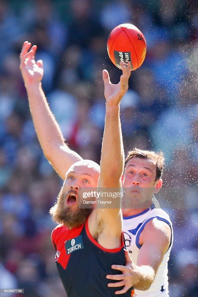 Max Gawn of the Demons and Todd Goldstein of the Kangaroos compete in the ruck during the round three AFL match between the Melbourne Demons and the North Melbourne Kangaroos at Melbourne Cricket Ground on April 7, 2018 in Melbourne, Australia.