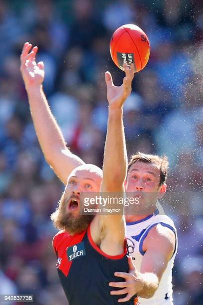 Max Gawn of the Demons and Todd Goldstein of the Kangaroos compete in the ruck during the round three AFL match between the Melbourne Demons and the...